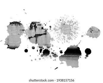 Black ink splash smudge shape, isolated design element, grunge spot