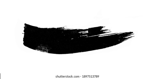 Black ink strokes on white paper. Graphic design elements for lower third, text effect, photo pverlay, etc. Chinese style abstract brush strokes
