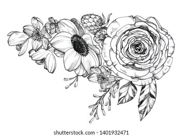 Black Ink Tattoo Composition. Extremely detailed hand drawn flowers and crystals. High-contrast black and white decorative element. Floral bouquet