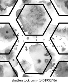 Black Ink Tattoo Composition. Watercolor hand painted seamless pattern. Monochrom sloppy spots and geometry hexagons.