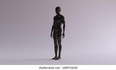 Black Iron Ecorche Muscle and Skeletal System Anatomical Model 3 Quarter Front Left View 3d illustration 3d render