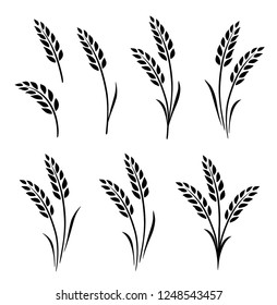 black isolated wheat ears hand drawn set on white background