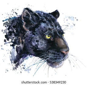 black jaguar watercolor illustration
