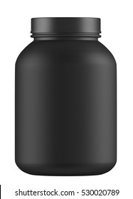 Black Jar mock-up on white background 3D rendering , Matte colour