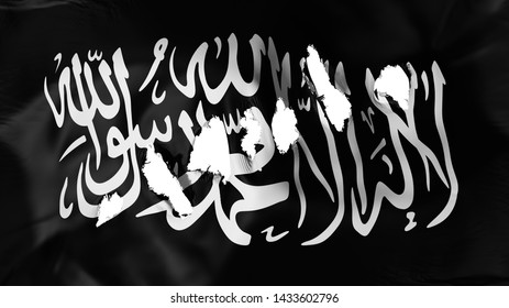 Black Jihad flag perforated, bullet holes, white background, 3d rendering