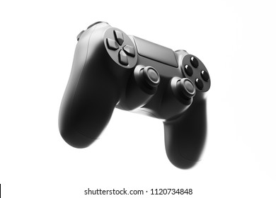 Black joystick isolated on white background. 3d rendering
