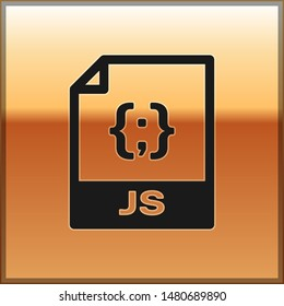 Black JS file document icon. Download js button icon isolated on gold background. JS file symbol
