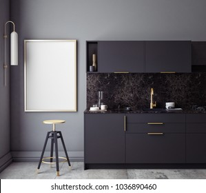 Black kitchen interior wall mock up on gray background, 3D rendering, 3D illustration