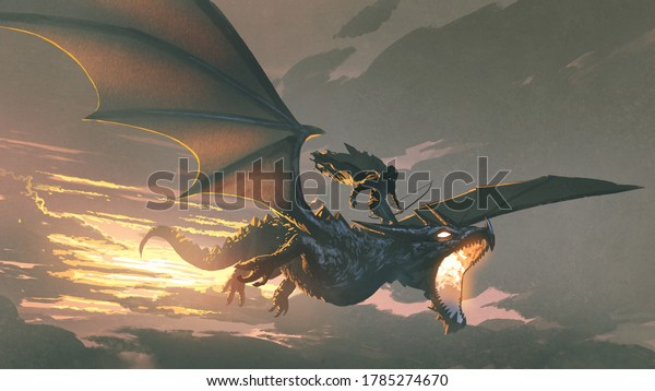 the black knight riding the dragon flying in the sunset sky, digital art style, illustration painting