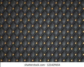 Black leather background with golden buttons. Useful as luxury pattern