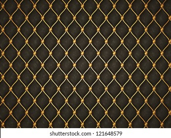 Black leather background with golden grid and buttons. Useful as luxury pattern