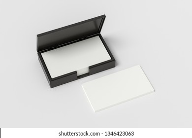 Black leather business card box holder with blank business cards in stack on white background. 3d illustration