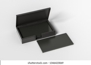 Black leather business card box holder with black business cards in stack on white background. 3d illustration