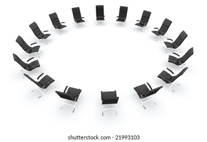 Black leather chairs in a circle isolated on white