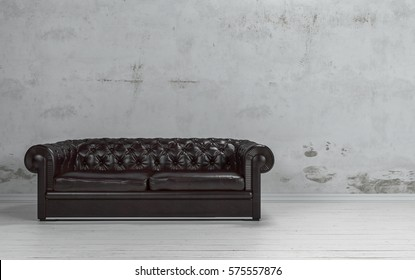 Black leather couch on white floor against rough grey concrete wall with copy space. 3d Rendering.