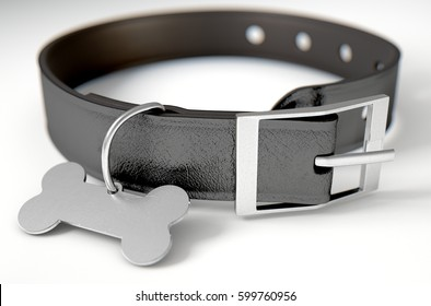 A black leather dog collar with a steel bone shaped identification tag isolated on a white studio background - 3D render
