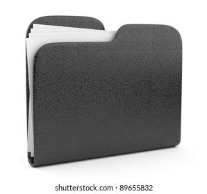 Black leather folder. File 3D.  Icon isolated on white background