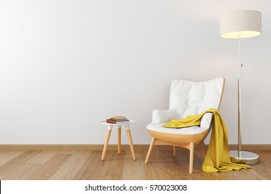 Black leather wood armchair, coffe table, floor lamp in empty white room. 3D render illustration