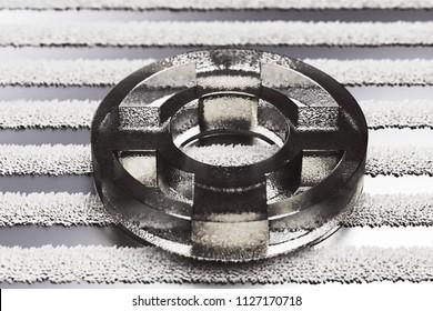 Black Life Ring Icon on the Stylish Metalllic Stripes Pattern. 3D Illustration of Black Floatation Device, Guardar, Life Buoy, Life Ring, Life Save Icon Set With Stripe Metalllic Background.