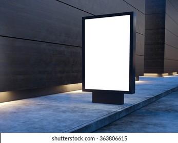 Black lightbox on the city street. Wood facades of modern buildings in background. 3d render