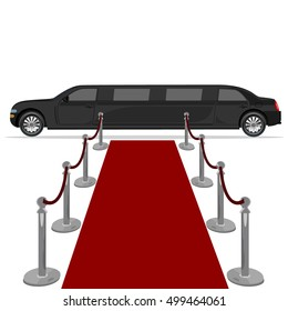 black limousine and red carpet, design element, flat