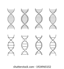 black linear dna icons set. concept of genetic engineering, study of the structure of the genome, change, cloning, biotechnology. graphic design, simple elements isolated on white background