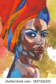 Black lives matter. African woman in turban portrait in pop art style Modern art painting