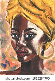 Black lives matter. African woman in turban portrait in pop art style Modern art painting. Acrylic illustration