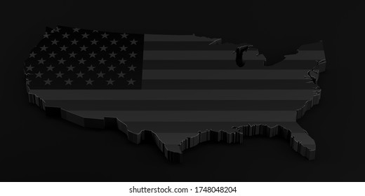 Black Lives Matter concept . Illustration with United states of America flag. 3D Rendering