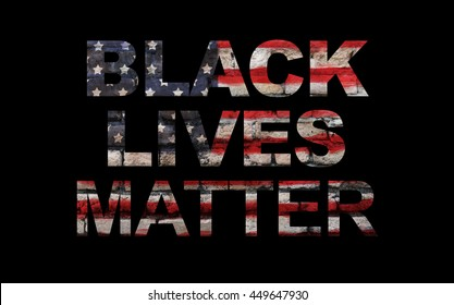Black lives matter slogan on America's flag