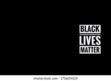 Black lives matter wording on black and white color isolated on black background. Space for copy text - Newsletters
