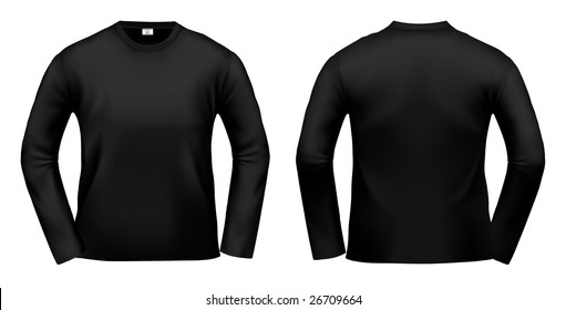 Black long-sleeved T-shirt design template (clipping path).
