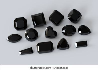 Black loose diamonds of the popular cut styles on white background. 3D illustration