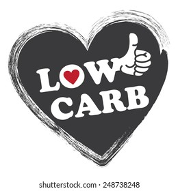 Black Low Carb Heart Shape Sticker, Icon or Label Isolated on White Background