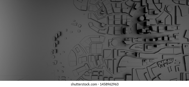 black low poly city top view. 3d rendering