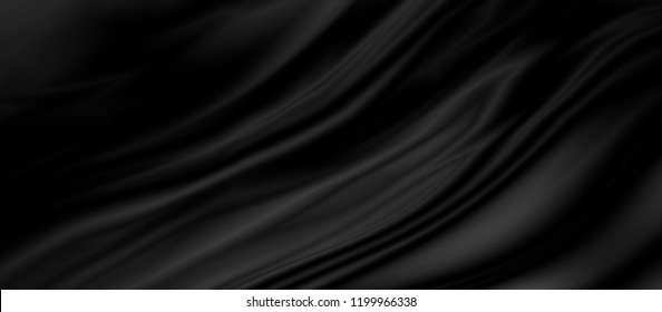 Black luxury fabric background with copy space