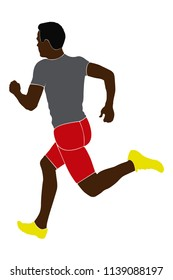 black man athlete sprinter runnning color silhouette