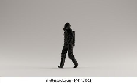 Black Man in a Hazmat Suit Walking 3d Illustration 3d render
