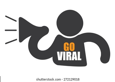 Black Man With Megaphone and Go Viral Sign, Icon or Label Isolated on White Background