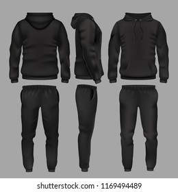 Black man sportswear hoodie and trousers mockup isolated. Sportswear with hoodie, male fashion clothes trousers and sweatpants illustration