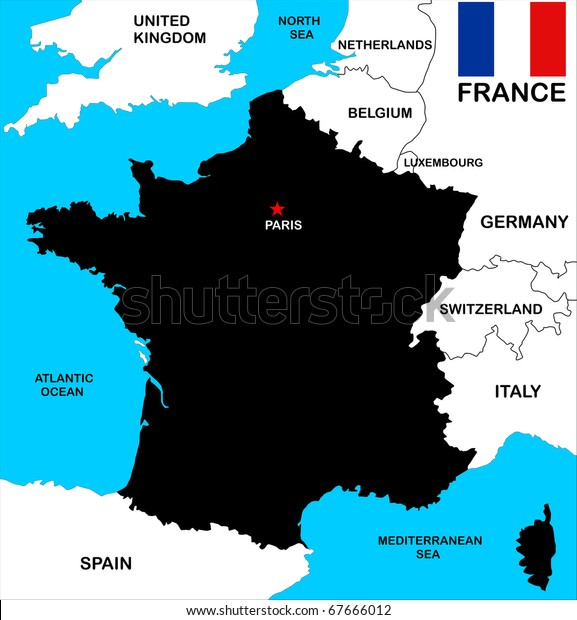 Map Of France With Neighbouring Countries.Black Map France Flag Neighbors Stock Illustration 67666012