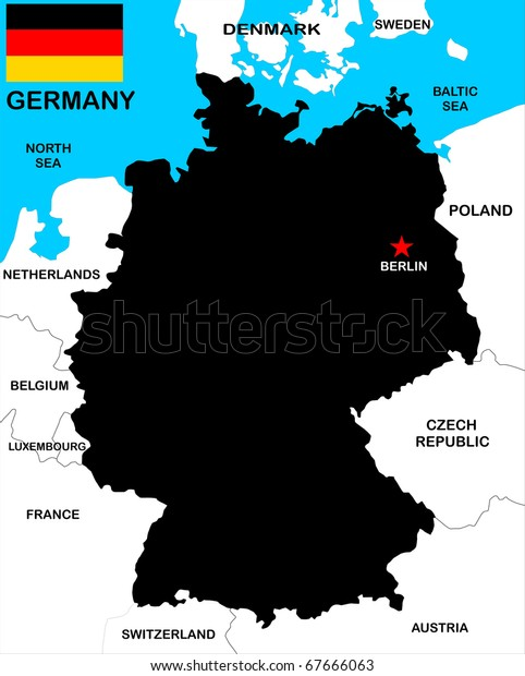 Map Of Germany With Neighbouring Countries.Black Map Germany Neighbors Stock Illustration 67666063