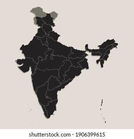Black map of India individual regions, design blackboard, blank raster