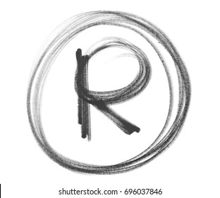 Black marker registered trademark symbol R isolated on white background