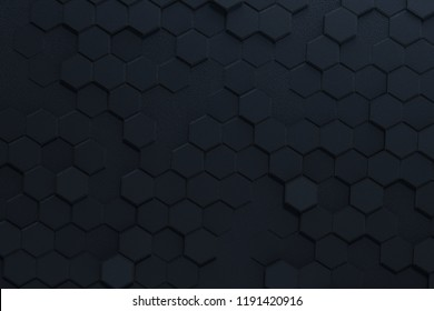 Black mat geometric hexagon 3d rendering background