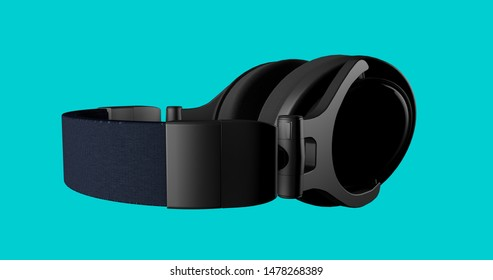 black matte headphone. isolated on turquoise background. 3D render