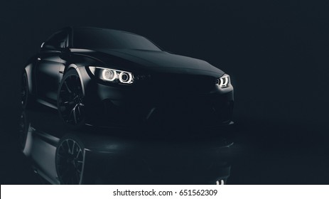 Black matte sports car front headlights closeup (with grunge overlay) - 3d illustration