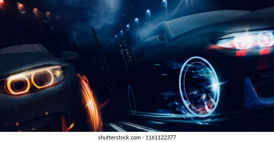 Black matte sports cars racing in the city - futuristic concept (with grunge overlay) -  brand less - 3d illustration