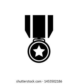Black Medal with star icon isolated on white background. Winner achievement sign. Award medal