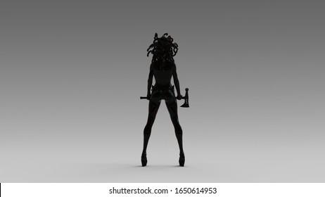 Black Medusa Sister Holding Axe 3d illustration